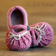 Crochet Pattern Too Cute Mary Janes with easy gathering pattern number 210 PDF