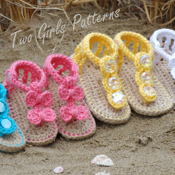 Crochet Pattern For Baby Seaside Gladiator Sandals Both Versions